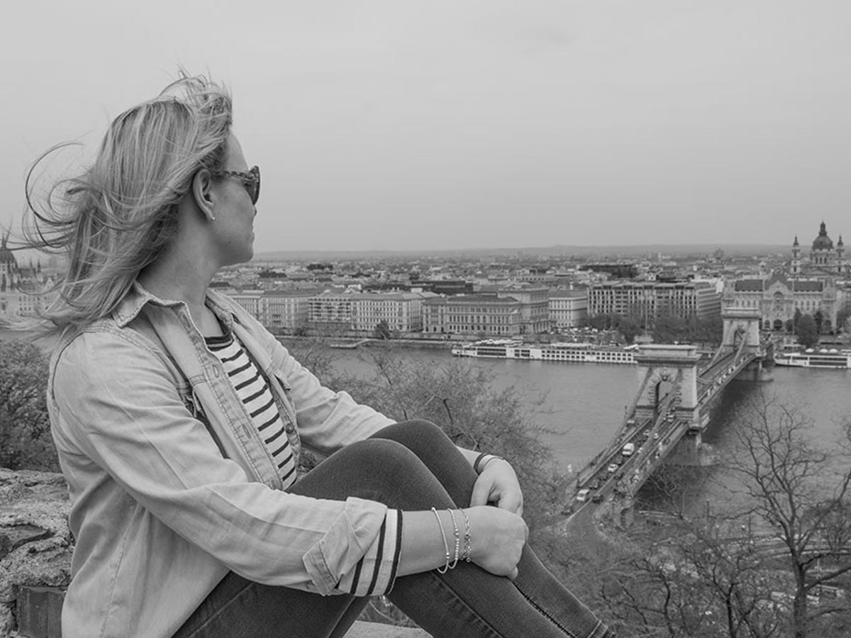 Admiring the view of the city from the Vár
