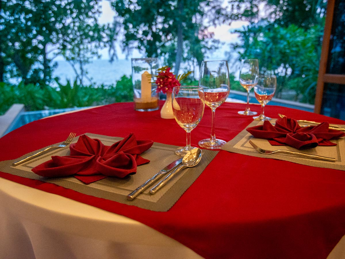 Our table set up at the villa for in-room dining
